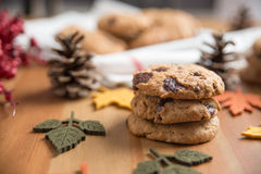 Chocolate chip cookies. With Warm Fall Colours Royalty Free Stock Images