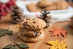 Chocolate chip cookies. With Warm Fall Colours Stock Image
