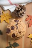 Chocolate chip cookies. With Warm Fall Colours Stock Photo