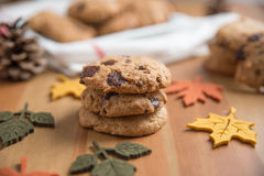 Chocolate chip cookies. With Warm Fall Colours Royalty Free Stock Photos