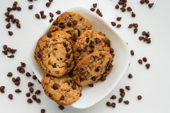 Chocolate chip cookies watered on white plate royalty free stock photography