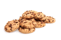 Chocolate Chip Cookies. On white Stock Images