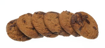 Chocolate chip cookies in a white background Royalty Free Stock Photos