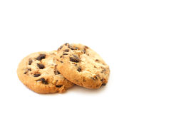 Chocolate chip cookies on white background Royalty Free Stock Image