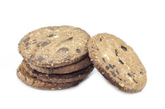 Chocolate chip cookies on white background Royalty Free Stock Photos