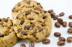 Chocolate chip cookies on white background Stock Photos