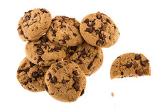 Chocolate chip cookies on white background. Royalty Free Stock Image
