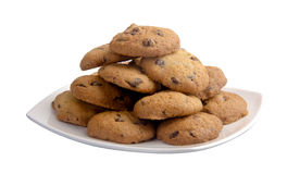 Chocolate chip Cookies in the white plate Stock Photo