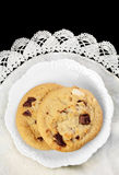 Chocolate Chip Cookies on White Plate Stock Images