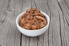 Chocolate chip cookies on a white plate Stock Photo