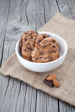 Chocolate chip cookies on a white plate Royalty Free Stock Photo