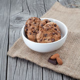 Chocolate chip cookies on a white plate Stock Images