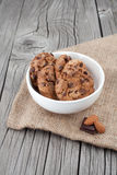 Chocolate chip cookies on a white plate Royalty Free Stock Image