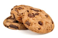Free Chocolate Chip Cookies With Chocolate Pieces Isolated On White Background. Macro Image Royalty Free Stock Photography - 136160967