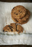Chocolate chip cookies on withe cheesecloth. Chocolate chip cookies, on a withe cheesecloth Royalty Free Stock Photos