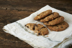 Chocolate chip cookies on withe cheesecloth Royalty Free Stock Photos