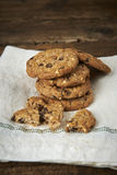 Chocolate chip cookies on withe cheesecloth Stock Photos