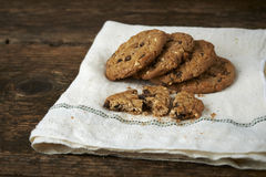 Chocolate chip cookies on withe cheesecloth Royalty Free Stock Images