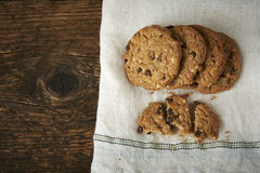 Chocolate chip cookies on withe cheesecloth Stock Photo