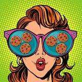 Chocolate chip cookies. Woman reflection in glasses vector illustration
