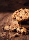 Chocolate chip cookies on wooden background close up. Stacked ch Stock Photography