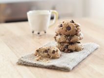 Chocolate chip cookies on  wooden table Stock Images