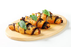 Chocolate chip crescent rolls Royalty Free Stock Photo