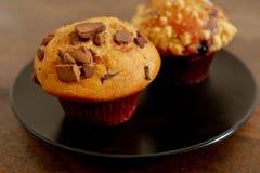 Chocolate Chip Cupcake na placa Imagens de Stock