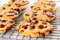 Chocolate Chip Double Chunk Cookies On Rack Royalty Free Stock Images