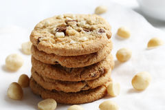 The chocolate chip and macadamia cookies on dish set for coffee break Stock Photography