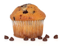 Chocolate Chip Muffin. Cup cake with loose chips over white background Royalty Free Stock Images