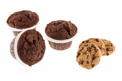 Chocolate chip muffin and cookies Stock Photo
