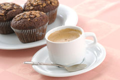 Chocolate chip muffin and cup of coffee Royalty Free Stock Image