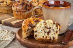 Chocolate Chip Muffin and Cup of Coffee stock photos