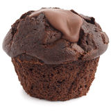 Chocolate chip muffin unwrapped on whit Stock Photography