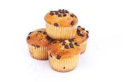 Chocolate chip muffin. On white background Royalty Free Stock Photography