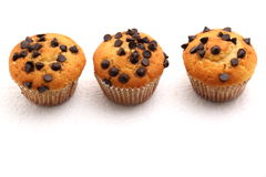 Chocolate chip muffin on a white background. Royalty Free Stock Photos