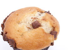 Chocolate chip muffin on a white background Royalty Free Stock Photography