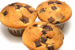 Chocolate Chip Muffins. Close up of three chocolate chip muffins on a white background stock photo