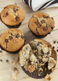Chocolate Chip Muffins. Ariel view of a group of cakes on wood table background Royalty Free Stock Image