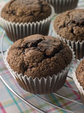 Chocolate Chip Muffins On A Cooling Rack Stock Photo
