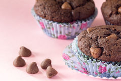 Chocolate Chip Muffins with Floral Muffin Cups Stock Photo