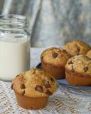 Chocolate chip muffins and milk Royalty Free Stock Images