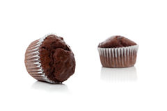 Chocolate chip muffins on white Royalty Free Stock Image