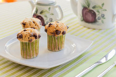 Chocolate chip muffins on white plate and green striped tableclo Stock Photo