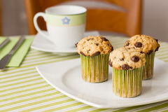 Chocolate chip muffins on white plate and green striped tableclo. Three chocolate chip muffins on white plate and green striped tablecloth at breakfast Stock Photos