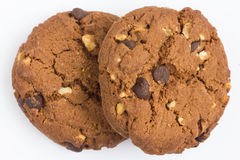 Chocolate chip and nut biscuits stock photography