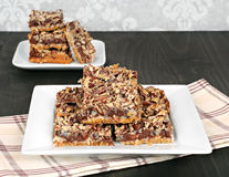 Chocolate chip and nut cookie bars Stock Photo