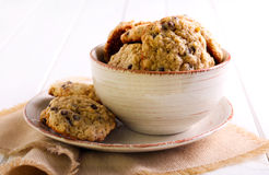 Chocolate chip oat cookies Royalty Free Stock Images
