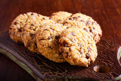 Chocolate chip oat low calorie cookies Stock Photography